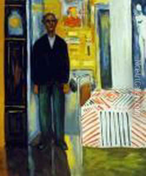 Self Portrait: Between Clock And Bed Oil Painting - Edvard Munch