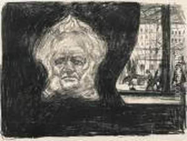 Henrik Ibsen At The Grand Cafe Oil Painting - Edvard Munch