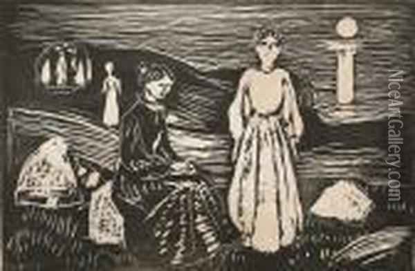 Women On The Beach Oil Painting - Edvard Munch