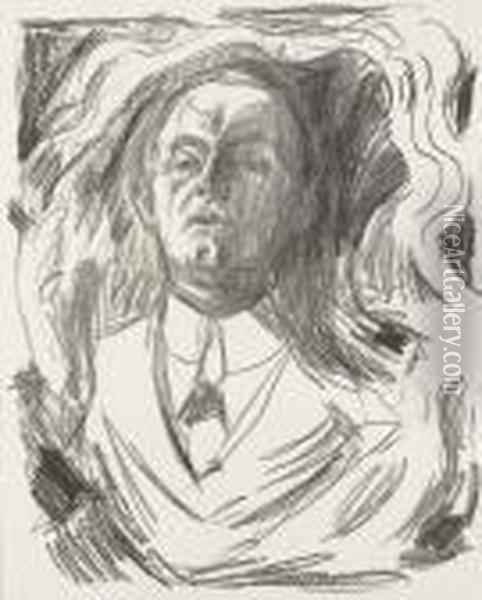 Self-portrait With A Cigar Oil Painting - Edvard Munch