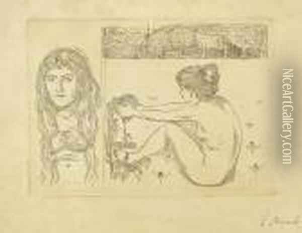 Woman With Long Hair / The Woman And The Heart Oil Painting - Edvard Munch