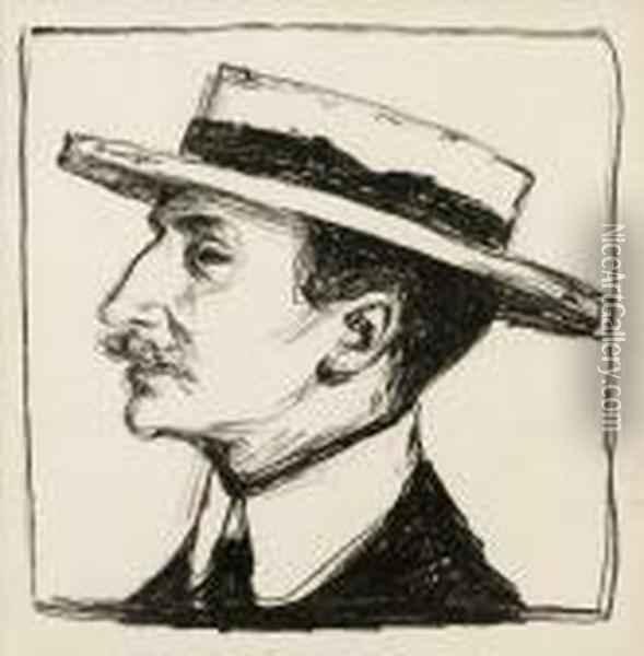 Goldstein With Hat Oil Painting - Edvard Munch