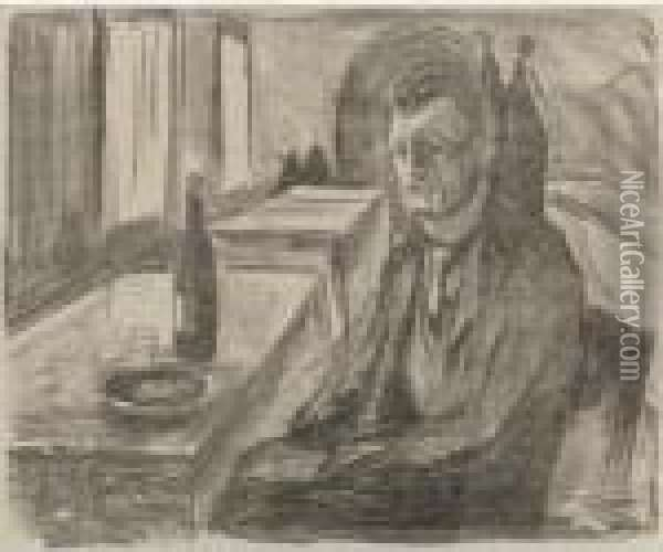 Self-portrait With A Bottle Of Wine (w. 712) Oil Painting - Edvard Munch