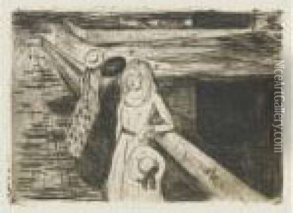 The Girls On The Bridge (w. 232; Sch. 200) Oil Painting - Edvard Munch