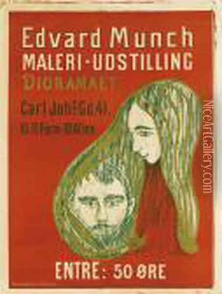 Poster: Man's Head In Woman's Hair Oil Painting - Edvard Munch