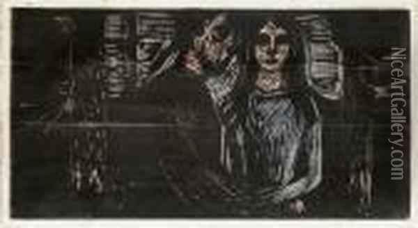 Young Couple In A Spruce Forest (sch. 442; W. 540 Vi) Oil Painting - Edvard Munch