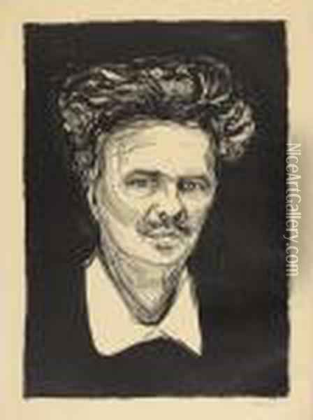 Portrait August Strindberg Oil Painting - Edvard Munch