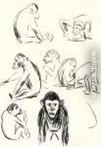 Apes (w.332) Oil Painting - Edvard Munch
