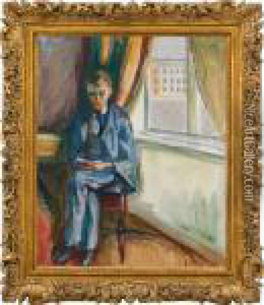 Andreas Is Reading Oil Painting - Edvard Munch