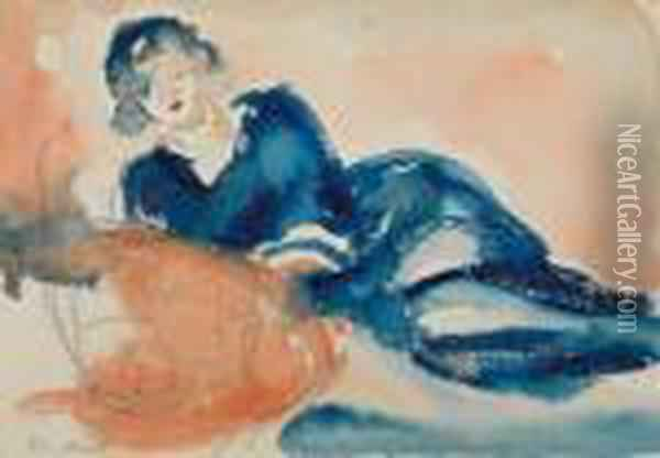 Reclining Woman Oil Painting - Edvard Munch