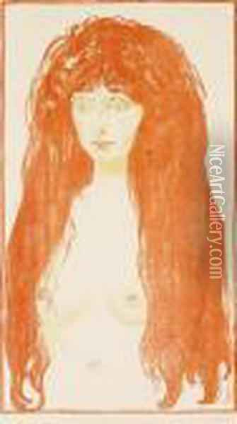 Woman With Red Hair And Green Eyes. The Sin. Oil Painting - Edvard Munch
