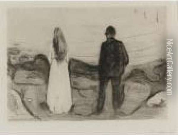 Two Human Beings, The Lonely Ones (woll 13) Oil Painting - Edvard Munch