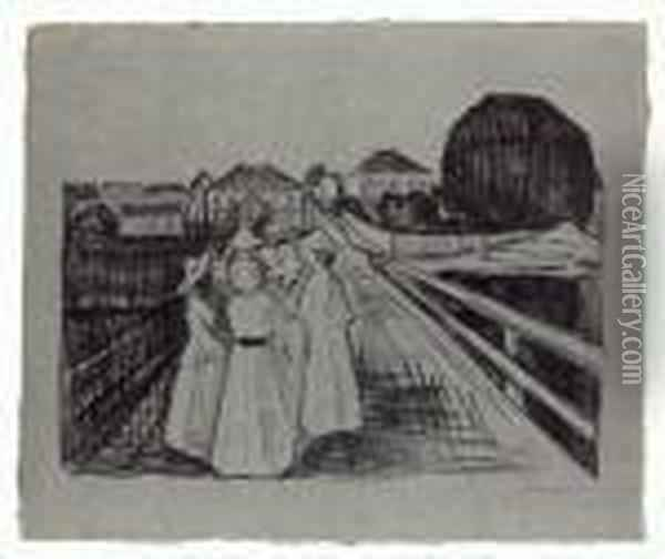 Auf Der Brucke Oil Painting - Edvard Munch