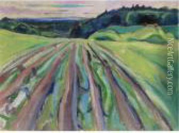 Property From A Private Norwegian Collection              Fields At Ekely Oil Painting - Edvard Munch