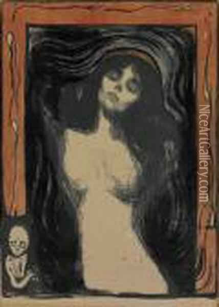 Madonna, Woman Making Love 1895/1902 Oil Painting - Edvard Munch