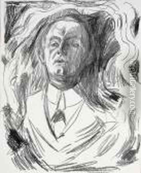 Self Portrait With A Cigar 1908-09 Oil Painting - Edvard Munch