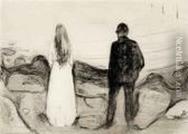 Two Human Beings. The Lonely Ones 1894 Oil Painting - Edvard Munch