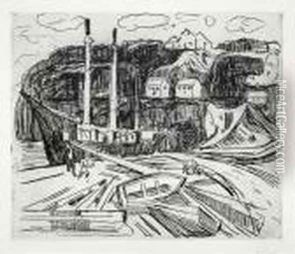 Ship Being Scrapped Ca.1916 Oil Painting - Edvard Munch