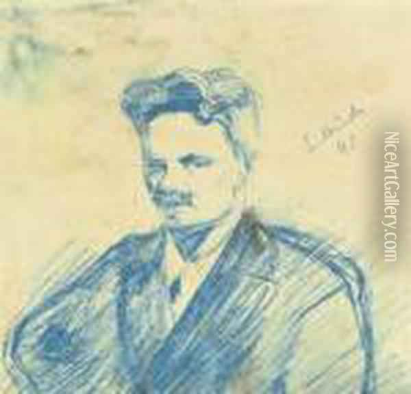 Portrait Of August Strindberg Oil Painting - Edvard Munch