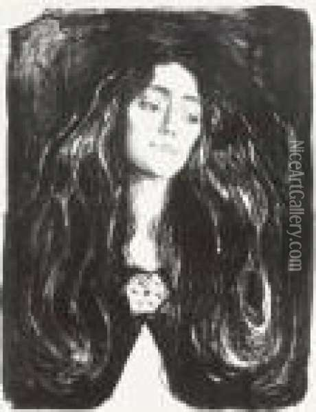 The Brooch. Eva Mudocci (woll 244, Sch. 212) Oil Painting - Edvard Munch