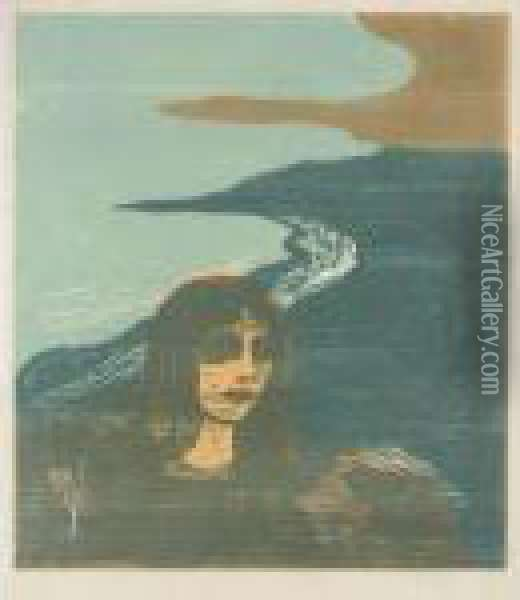 Womans's Head Against The Shore (woll 152; Schiefler 129) Oil Painting - Edvard Munch