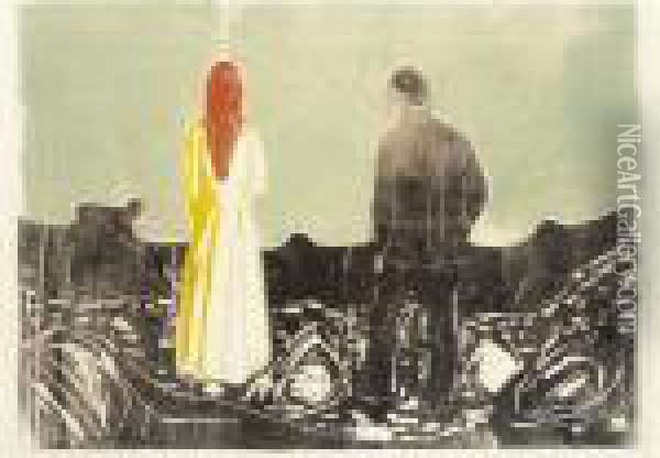 Two Human Beings. The Lonely Ones (w. 157, Sch.133) Oil Painting - Edvard Munch