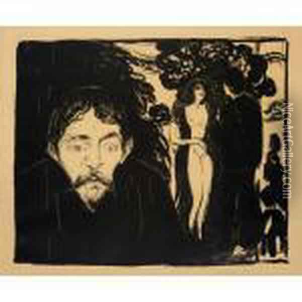 Jealousy Ii (woll 69b) Oil Painting - Edvard Munch