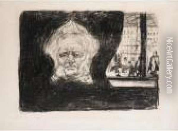 Henrik Ibsen At The Grand Cafe (woll 200) Oil Painting - Edvard Munch
