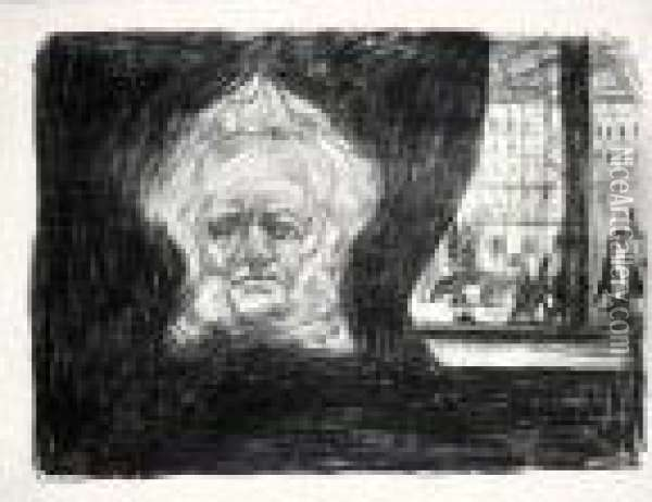 Henrik Ibsen At The Grand Cafe (w. 200) Oil Painting - Edvard Munch