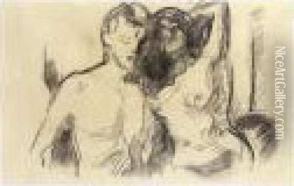Nude Couple Oil Painting - Edvard Munch
