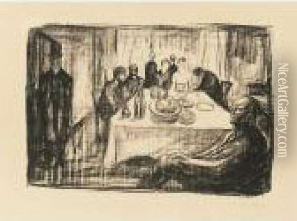 The Bohemian's Wedding (die Hochzeit Des Bohemian) (w. 702) Oil Painting - Edvard Munch