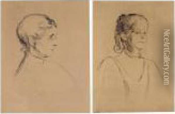 Portrait Of Ingeborg Heiberg;  And Portrait Of Ragnhild Heiberg (willoch 29; And 45; Schiefler 38; And  53) Oil Painting - Edvard Munch