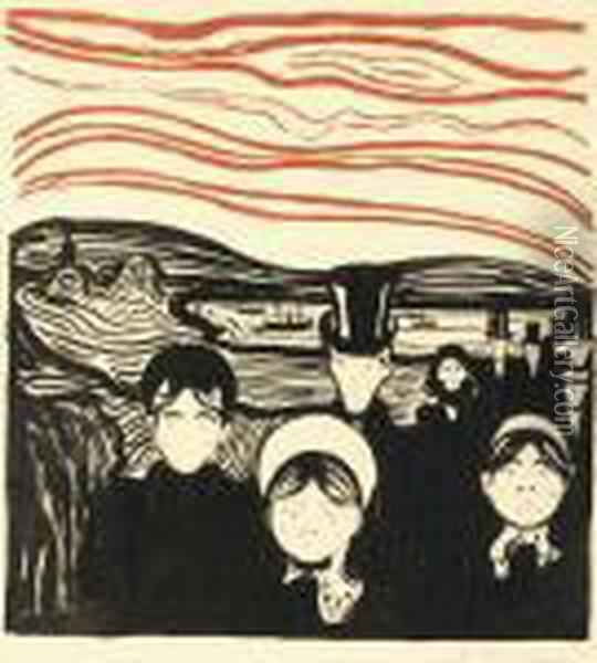 Angstgefuhl (s. 61)* Oil Painting - Edvard Munch