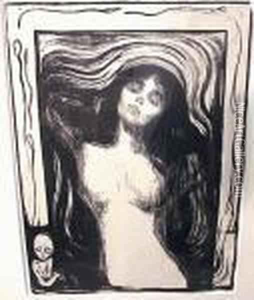 Madonna-liebendes Weib Oil Painting - Edvard Munch