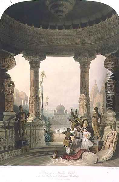 Portico of a Hindoo Temple, with other Hindoo and Mahomedan Buildings, from Volume II of Scenery, Costumes and Architecture of India, drawn by David Roberts 1796-1864 engraved by R.G. Reeve fl.1811-37 1830 Oil Painting - David Roberts