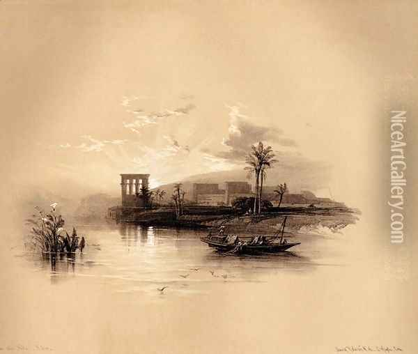 06 The Island of Philae by Sunset from David Roberts's Eygpt and Nubia Oil Painting - David Roberts