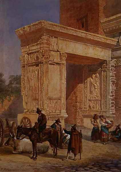 The Goldsmiths Gate, Rome Oil Painting - David Roberts