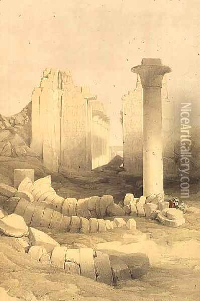 The Dromos or Central Hall of the Great Temple of Amun, Karnak, from Egypt and Nubia, Vol.2 Oil Painting - David Roberts