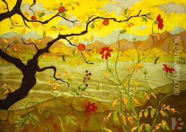 Apple Tree With Red Fruit Oil Painting - Paul-Elie Ranson
