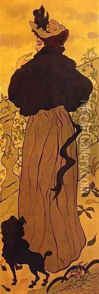 Woman Standing at a Balustrade with a Poodle Oil Painting - Paul-Elie Ranson