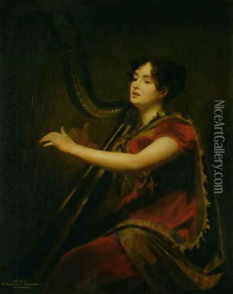 The Marchioness of Northampton, Playing a Harp, c.1820 Oil Painting - Sir Henry Raeburn