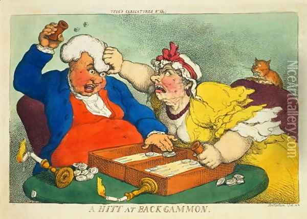 A Hitt at Backgammon Oil Painting - Thomas Rowlandson