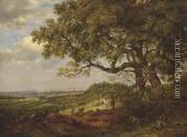 View Of Tonbridge From A Point  Between Tonbridge And Tunbridge Wells, With Figures And A Horse In The  Foreground Oil Painting - Patrick, Peter Nasmyth
