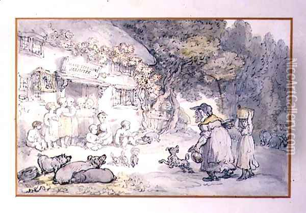 Mary Spriggens, the Midwife Oil Painting - Thomas Rowlandson