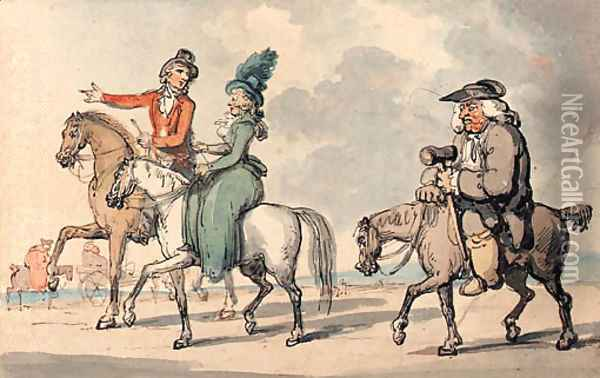 Gentlefolk out riding Oil Painting - Thomas Rowlandson