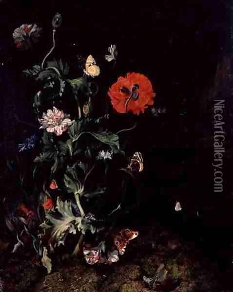 Forest Floor Still Life with Flowers and Butterflies Oil Painting - Rachel Ruysch
