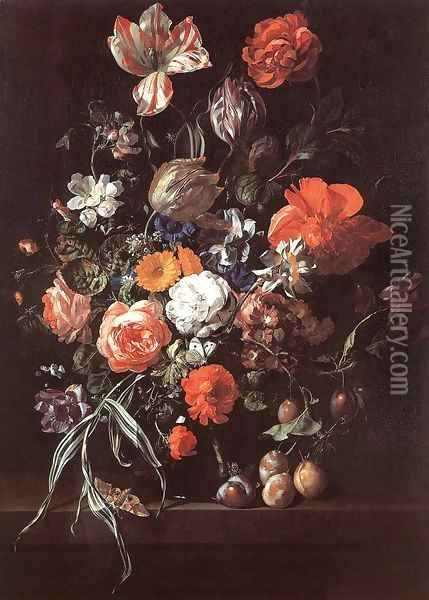 Still-Life with Bouquet of Flowers and Plums Oil Painting - Rachel Ruysch