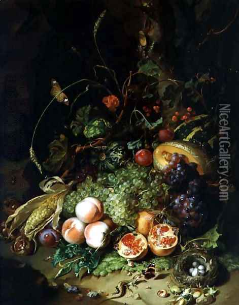 Still Life of Fruit with a Birds Nest and Insects, 1710 Oil Painting - Rachel Ruysch