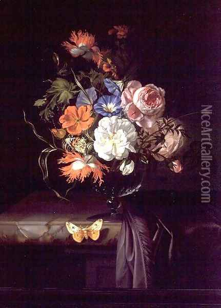 A Still Life of Flowers in a vase on a ledge Oil Painting - Rachel Ruysch