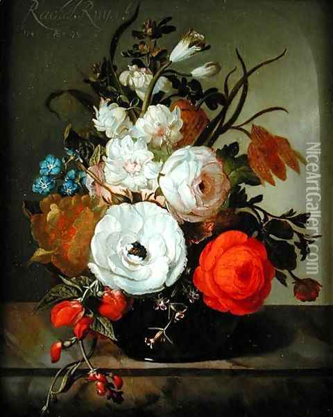 Still Life of Flowers in a Glass Vase, 1742 Oil Painting - Rachel Ruysch